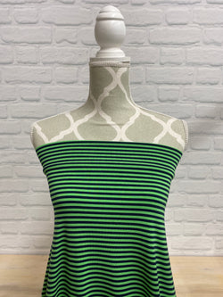Green Flash/Navy stripe Bamboo Jersey Knit
