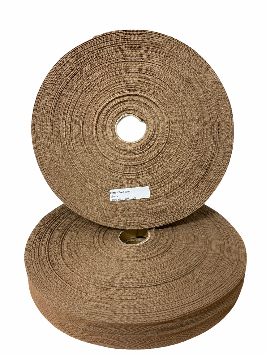 Cotton Twill Tape - chocolate 13mm - Full Roll