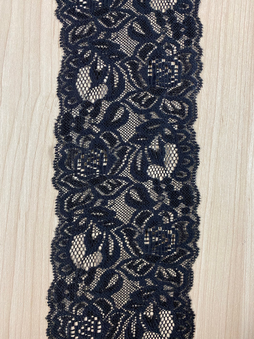 Stretch Lace Black  8.5cm (3.5inches) 526