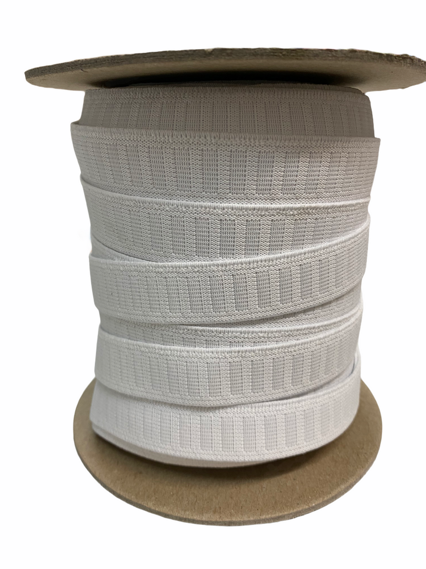Waistband elastic, white non roll.  19mm