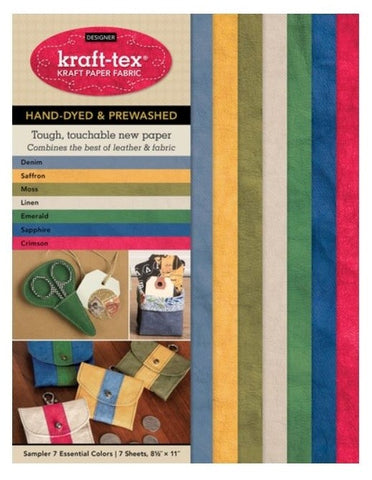 "Kraft-Tex Artisanal (Designer) Kraft Fabric Sampler in 7 Essential Hand-Dyed & Pre-Washed Colours, 7pc. (8 1/2"" x 11"")"
