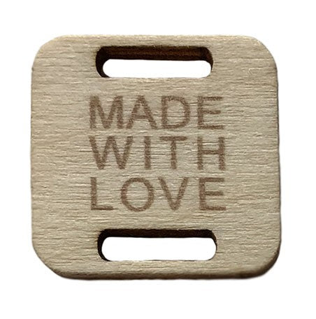 Square Birch Wood Tag - Made With Love