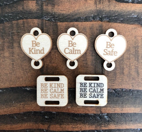 "Square & Heart Shapes ""Be Kind, Be Calm, Be Safe Birch Wood Knitting/Crochet Tags"