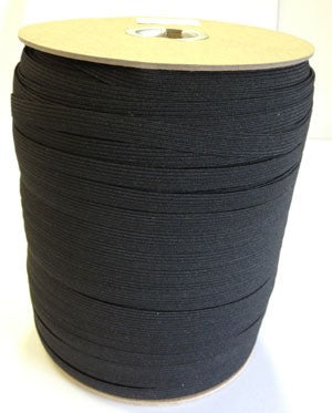 Poly Braid Elastic Black, 9.5MM 3/8th inch
