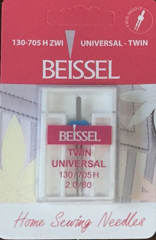 Beissel 2.0/80 Twin Needle Universal, 1 Count - Black Rabbit Fabric