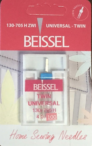 Beissel 4.0/100 Twin Needle Universal, 1 Count - Black Rabbit Fabric