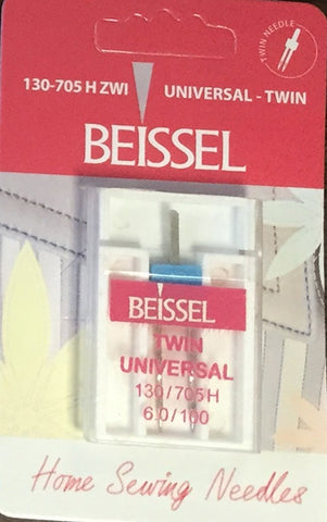 Beissel Sz 6.0/100 Twin Needle Universal, 1 Count - Black Rabbit Fabric