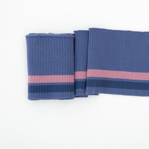 Cuffing, Stripes, blue/grey/darkblue/rose 100cm x 13cm **Öko-Tex Standard 100**, Swafing