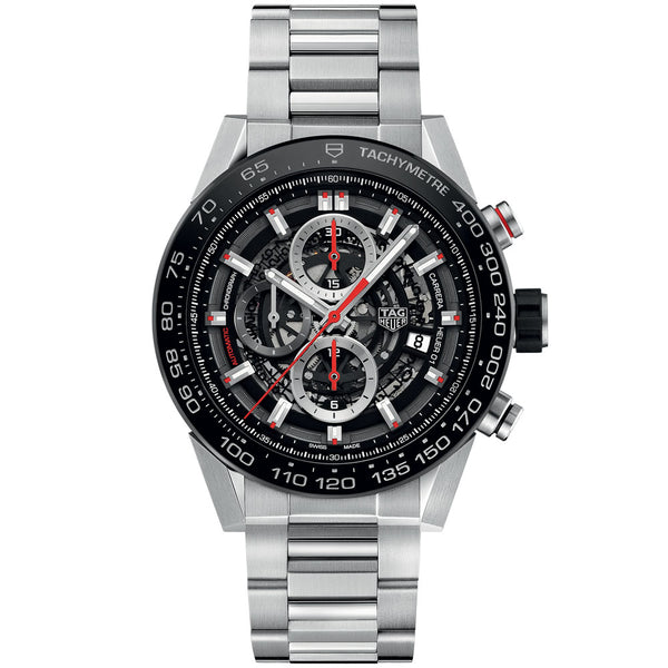 TAG Heuer - Men's Carrera Calibre Heuer 01 45 mm Chronograph Watch CAR2A1W.BA0703