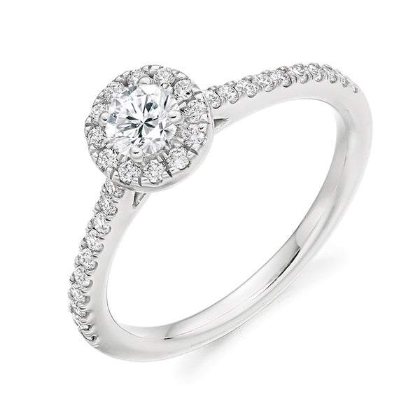 Platinum 0.25ct Round Brilliant Cut Diamond Halo Engagement Ring ENGJR3751