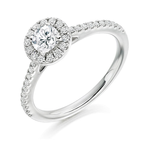Platinum 0.33ct Round Brilliant Cut Diamond Halo Engagement Ring ENGJR3752