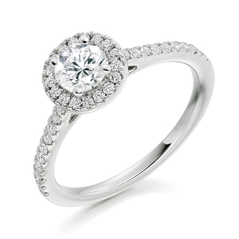 Platinum 0.50ct Round Brilliant Cut Diamond Halo Engagement Ring ENGJR3753