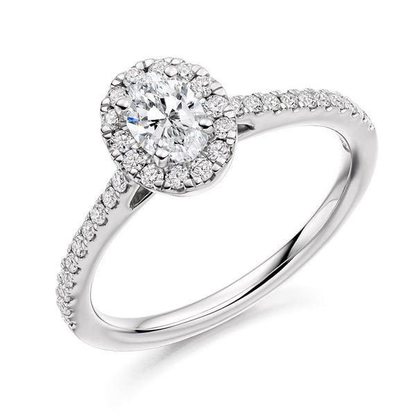 Platinum 0.30ct Oval Cut Diamond Halo Engagement Ring ENGJR4013