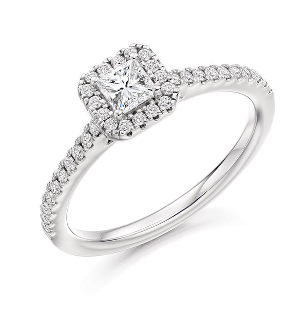 Platinum 0.25ct Princess Cut Diamond Halo Engagement Ring ENGJR4036