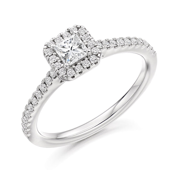 Platinum 0.33ct Princess Cut Diamond Halo Engagement Ring ENGJR4037
