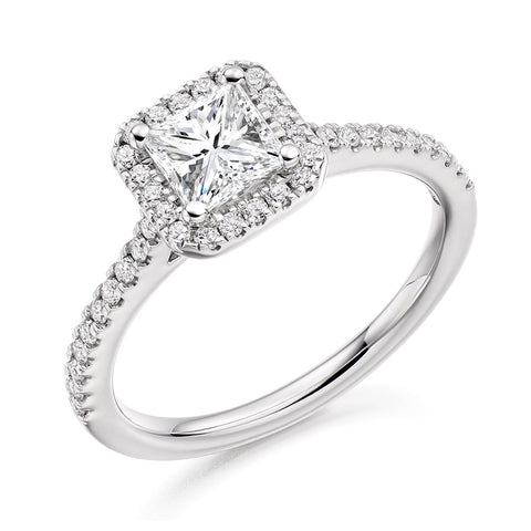 Platinum 0.50ct Princess Cut Diamond Halo Engagement Ring ENGJR4038
