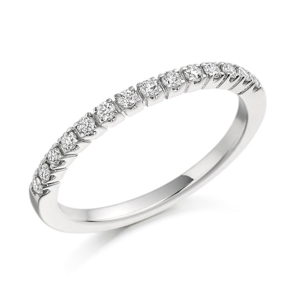 Platinum 1.8mm 0.23ct Claw Set Diamond Band HETJR1096