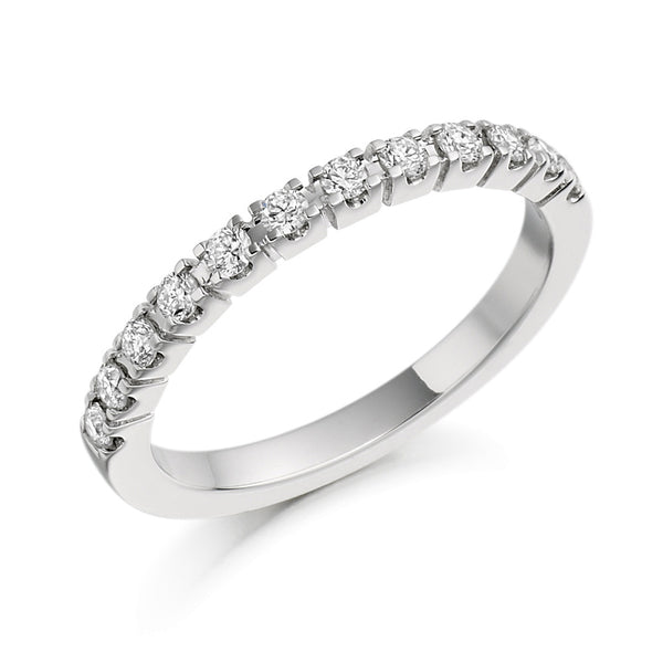 Platinum 2.1mm 0.33ct Claw Set Diamond Band HETJR1097
