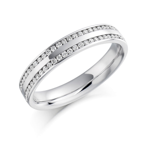Platinum 3.8mm 0.26ct Channel Set Double Row Diamond Band HETJR1136