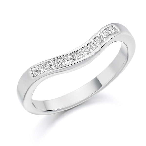 Platinum 2.8mm 0.25ct Channel Set Shaped Diamond Band HETJR1138