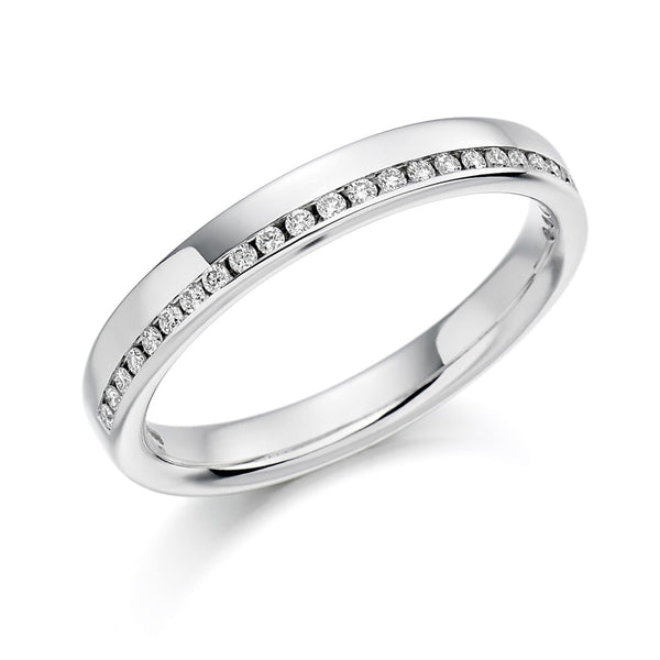 Platinum 3.1mm 0.12ct Offset Channel Set Diamond Band HETJR1152