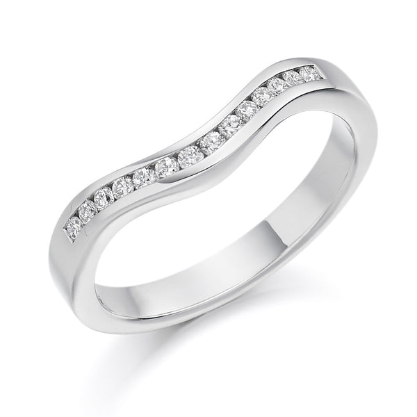 Platinum 2.8mm 0.16ct Channel Set Shaped Diamond Band HETJR1182