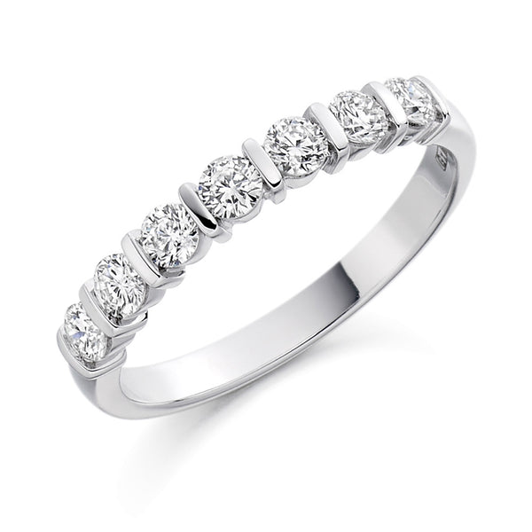 Platinum 2.8mm 0.50ct Bar Set Diamond Band HETJR1221