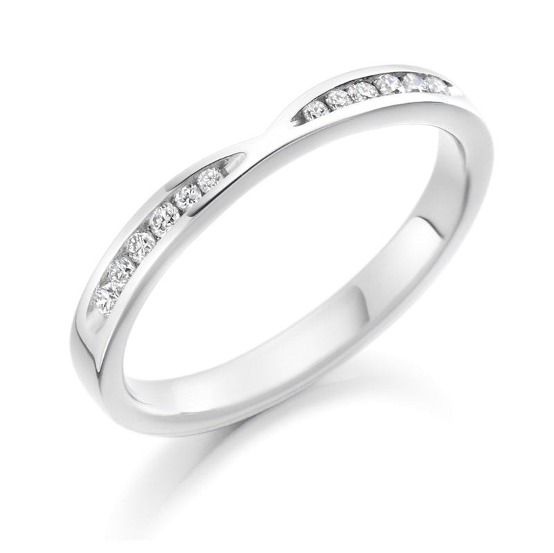 Platinum 2.4mm 0.18ct Channel Set Shaped Diamond Band HETJR1730
