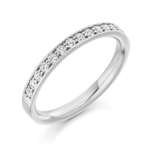 Platinum 2.5mm 0.33ct Grain Set Milgrain Edge Diamond Band HETJR1771