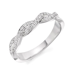 Platinum 4mm 0.22ct Grain Set Braid-Style Diamond Band HETJR1805