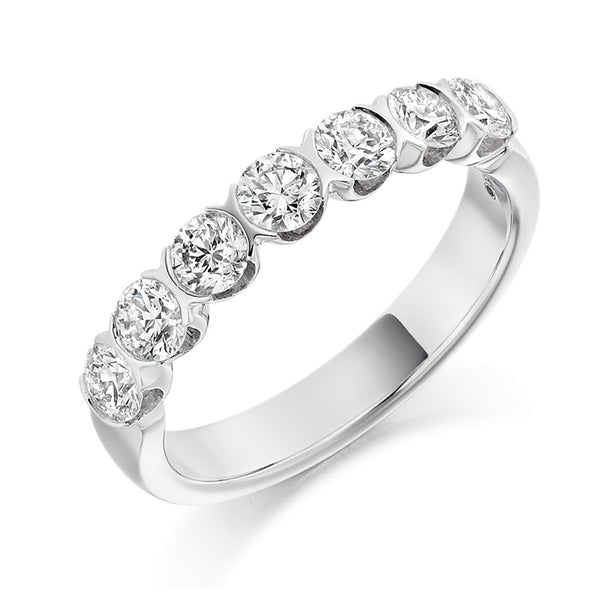 Platinum 3.3mm 1.00ct Bar Set Diamond Band HETJR1845