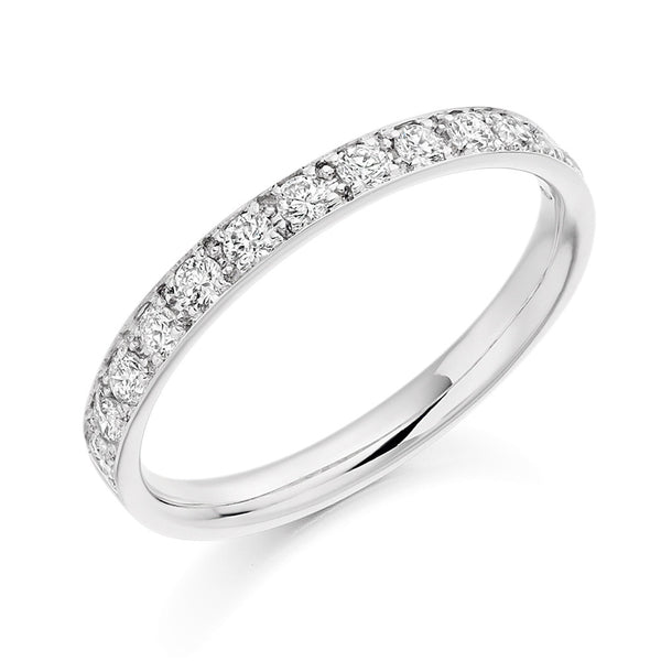 Platinum 2.4mm 0.40ct Grain Set Diamond Band HETJR2094