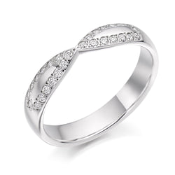 Platinum 3.8mm 0.25ct Grain Set Shaped Diamond Band HETJR2286