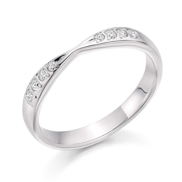 Platinum 2.6mm 0.15ct Grain Set Shaped Diamond Band HETJR2287