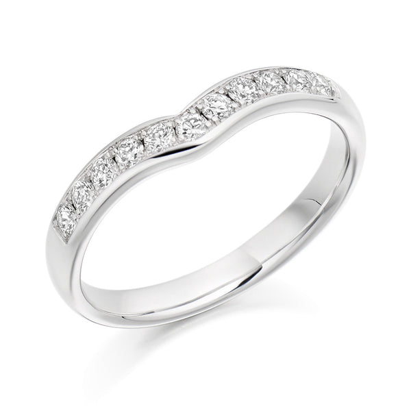 Platinum 3.1mm 0.30ct Grain Set Shaped Diamond Band HETJR2302