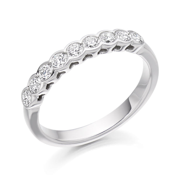 Platinum 3mm 0.50ct Rubover Set Diamond Band HETJR2388