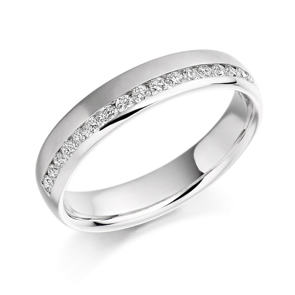 Platinum 4.1mm 0.26ct Offset Channel Set Diamond Band HETJR948