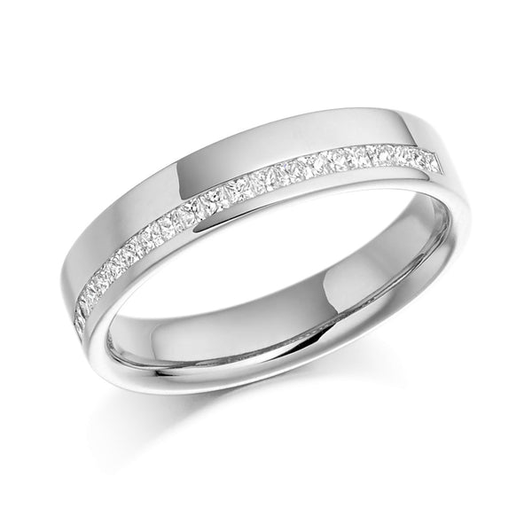 Platinum 4.5mm 0.25ct Offset Channel Set Princess Cut Diamond Band HETJR950