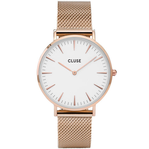 CLUSE - LADIES' LA BOHÈME MESH ROSE GOLD/WHITE WATCH