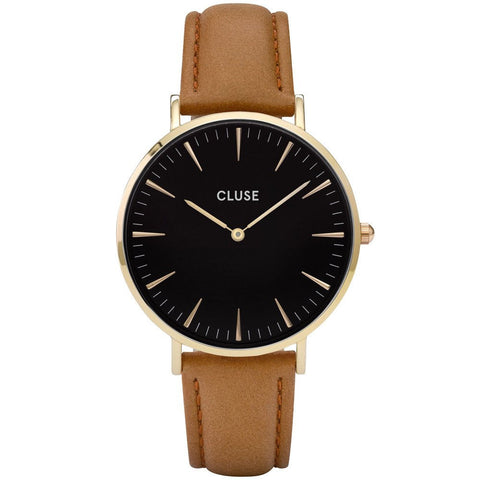 CLUSE - LADIES' LA BOHÈME GOLD BLACK/CARAMEL WATCH