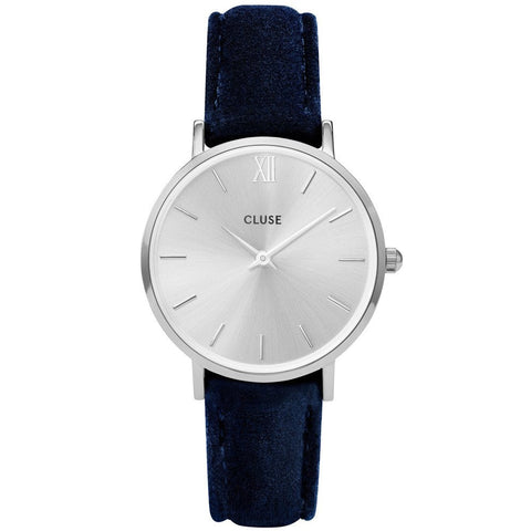 CLUSE - LADIES' MINUIT SILVER /BLUE VELVET WATCH