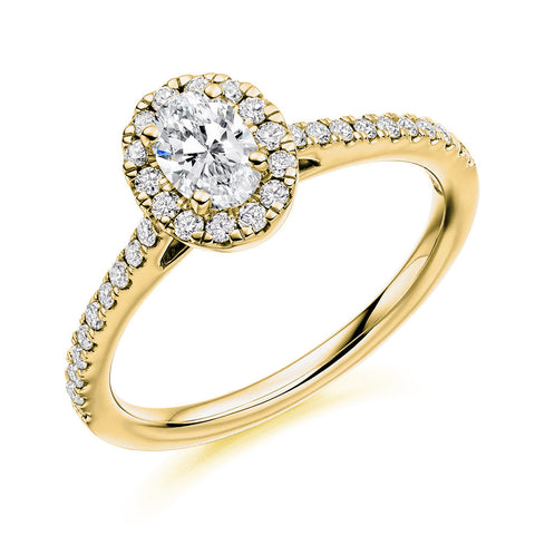 18ct Yellow Gold 0.30ct Oval Cut Diamond Halo Engagement Ring ENGJR4013