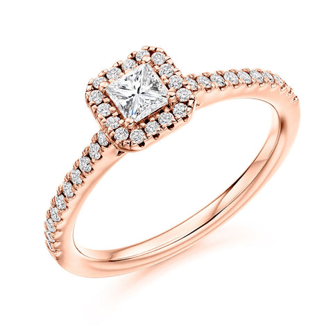 18ct Rose Gold 0.25ct Princess Cut Diamond Halo Engagement Ring ENGJR4036