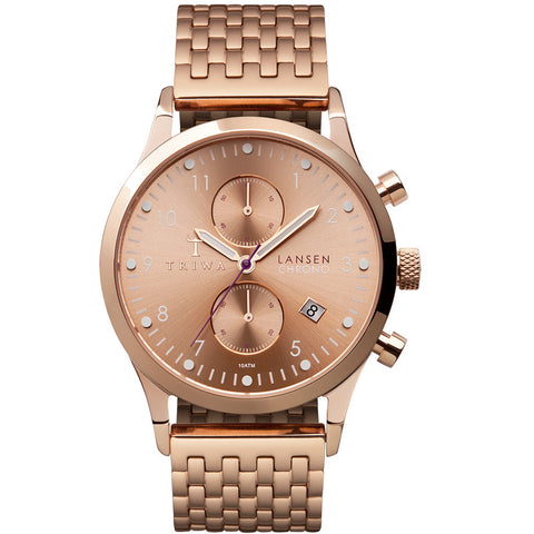 Triwa Unisex Rose Lansen Chrono Rose Gold Link LCST104.BR021414 Front