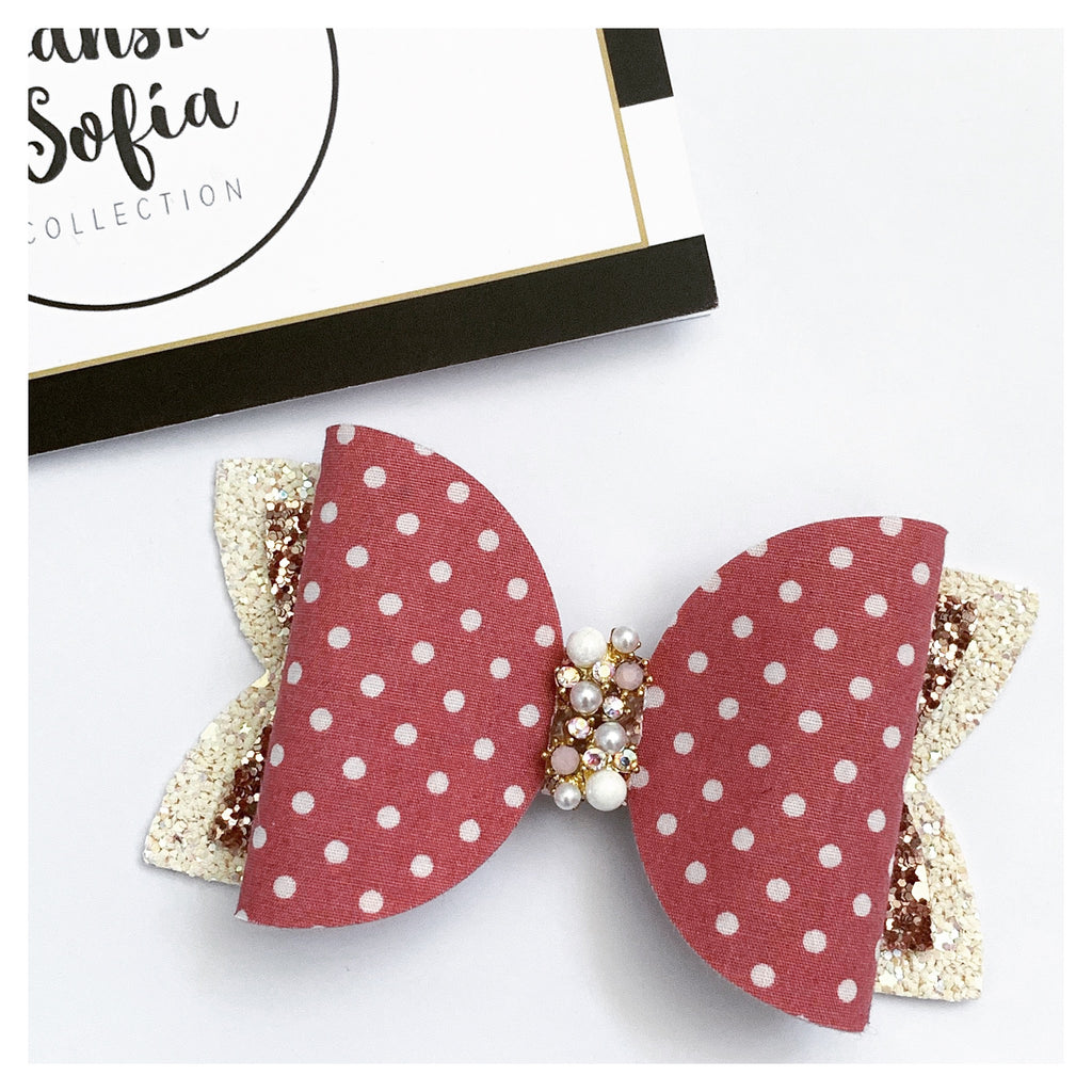 Dusty Rose Polka Dots Bow