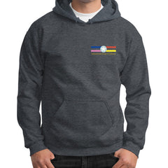 Gildan Hoodie (on man) Dark heather International Group of Anthony