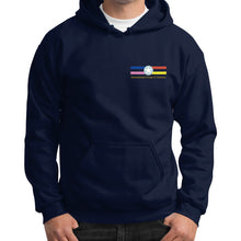 Gildan Hoodie (on man) Navy International Group of Anthony