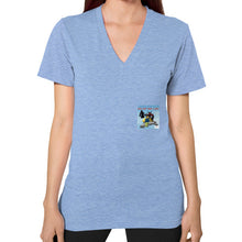 V-Neck (on woman) Tri-Blend Blue International Group of Anthony