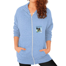 Zip Hoodie (on woman) Tri-Blend Blue International Group of Anthony