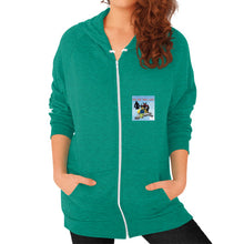 Zip Hoodie (on woman) Tri-Blend Vintage Green International Group of Anthony